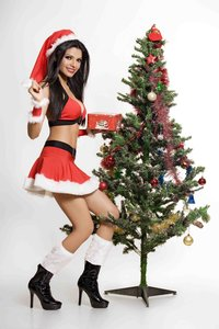 Sherlyn Chopra Hot Photoshoot For Christmas Showing her Sexy Legs